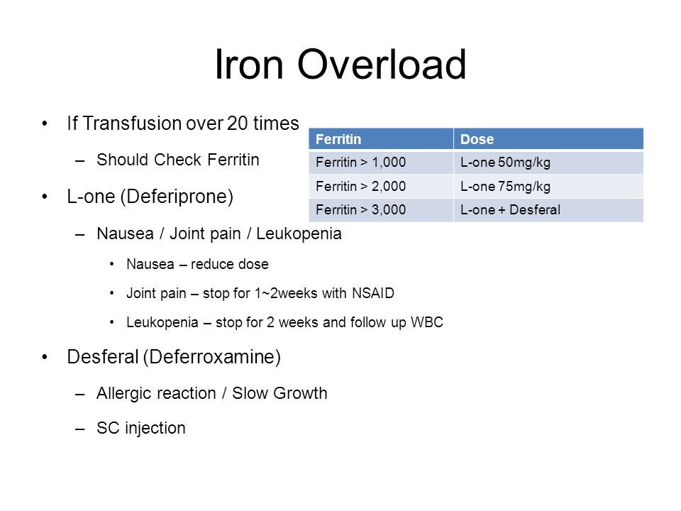 Iron Overload If Transfusion over 20 times –Should Check Ferritin L-one (Deferiprone) –Nausea / Joint pain / Leukopenia Nausea – reduce dose Joint pain – stop for 1~2weeks with NSAID Leukopenia – stop for 2 weeks and follow up WBC Desferal (Deferroxamine) –Allergic reaction / Slow Growth –SC injection FerritinDose Ferritin > 1,000L-one 50mg/kg Ferritin > 2,000L-one 75mg/kg Ferritin > 3,000L-one + Desferal