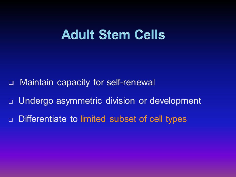  Maintain capacity for self-renewal  Undergo asymmetric division or development  Differentiate to limited subset of cell types