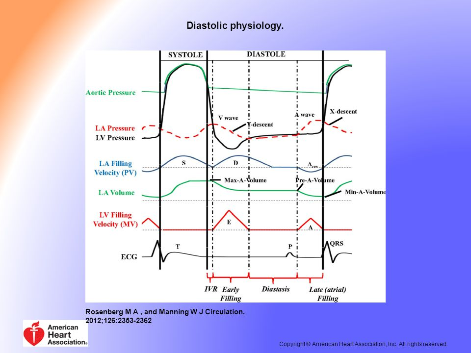 Diastolic physiology.Rosenberg M A, and Manning W J Circulation.