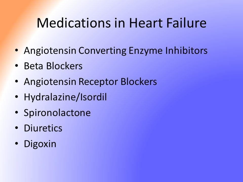Medications in Heart Failure Angiotensin Converting Enzyme Inhibitors Beta Blockers Angiotensin Receptor Blockers Hydralazine/Isordil Spironolactone D
