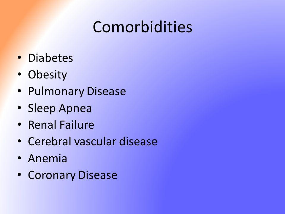 Comorbidities Diabetes Obesity Pulmonary Disease Sleep Apnea Renal Failure Cerebral vascular disease Anemia Coronary Disease