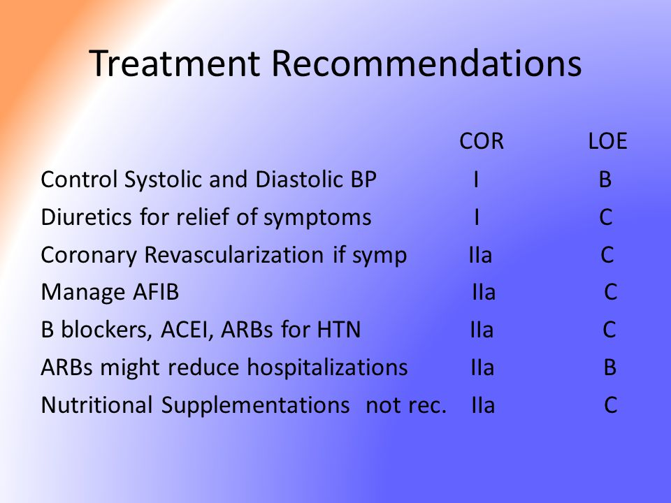 Treatment Recommendations COR LOE Control Systolic and Diastolic BP I B Diuretics for relief of symptoms I C Coronary Revascularization if symp IIa C