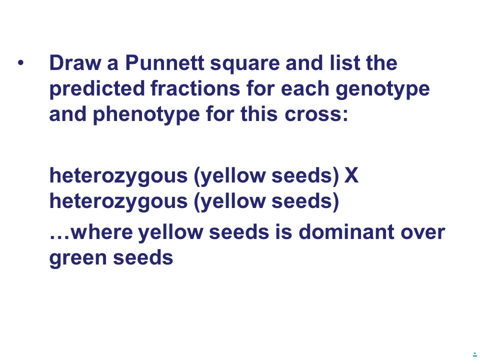 . Draw a Punnett square and list the predicted fractions for each genotype and phenotype for this cross: heterozygous (yellow seeds) X heterozygous (y