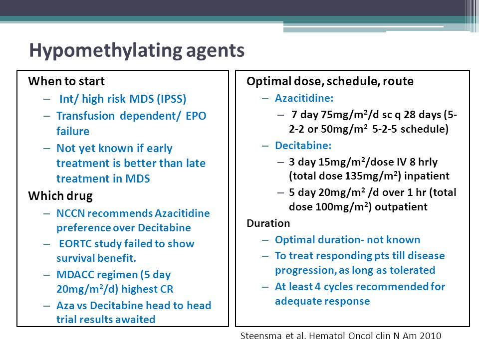 Hypomethylating agents When to start – Int/ high risk MDS (IPSS) – Transfusion dependent/ EPO failure – Not yet known if early treatment is better tha