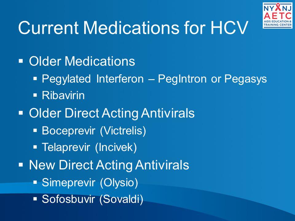 Current Medications for HCV  Older Medications  Pegylated Interferon – PegIntron or Pegasys  Ribavirin  Older Direct Acting Antivirals  Boceprevir (Victrelis)  Telaprevir (Incivek)  New Direct Acting Antivirals  Simeprevir (Olysio)  Sofosbuvir (Sovaldi)