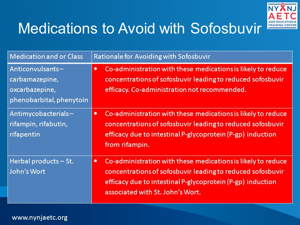 Medications to Avoid with Sofosbuvir Medication and or ClassRationale for Avoiding with Sofosbuvir Anticonvulsants – carbamazepine, oxcarbazepine, phenobarbital, phenytoin  Co-administration with these medications is likely to reduce concentrations of sofosbuvir leading to reduced sofosbuvir efficacy.