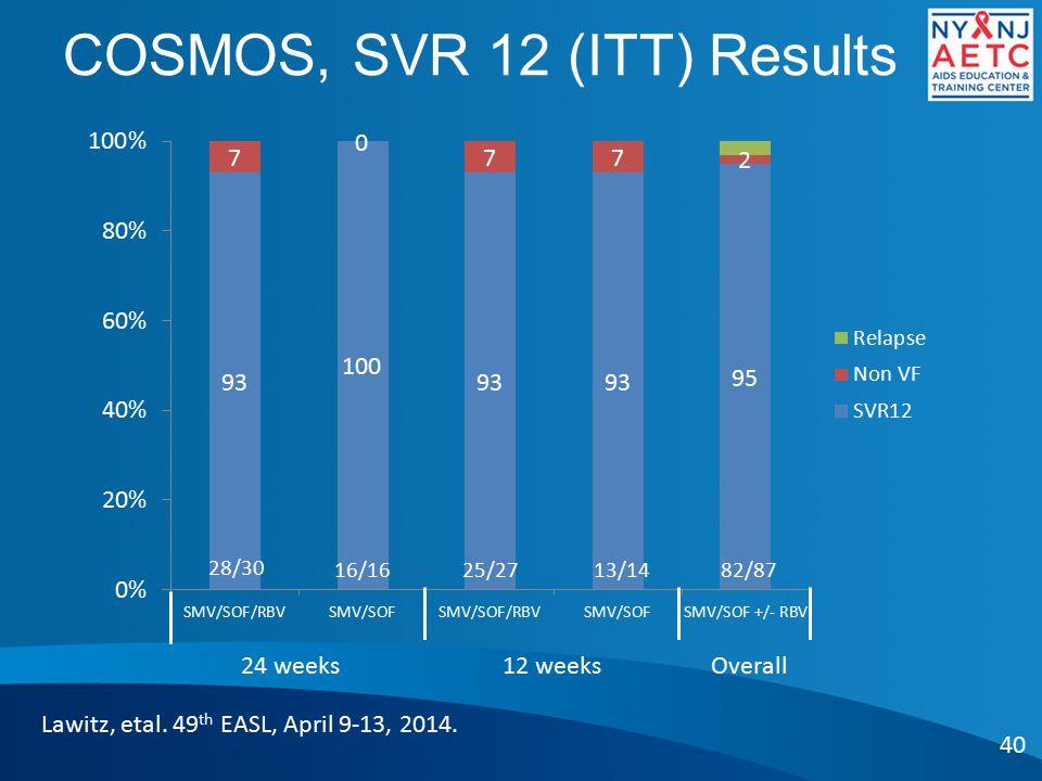 COSMOS, SVR 12 (ITT) Results 40 Lawitz, etal.49 th EASL, April 9-13, 2014.