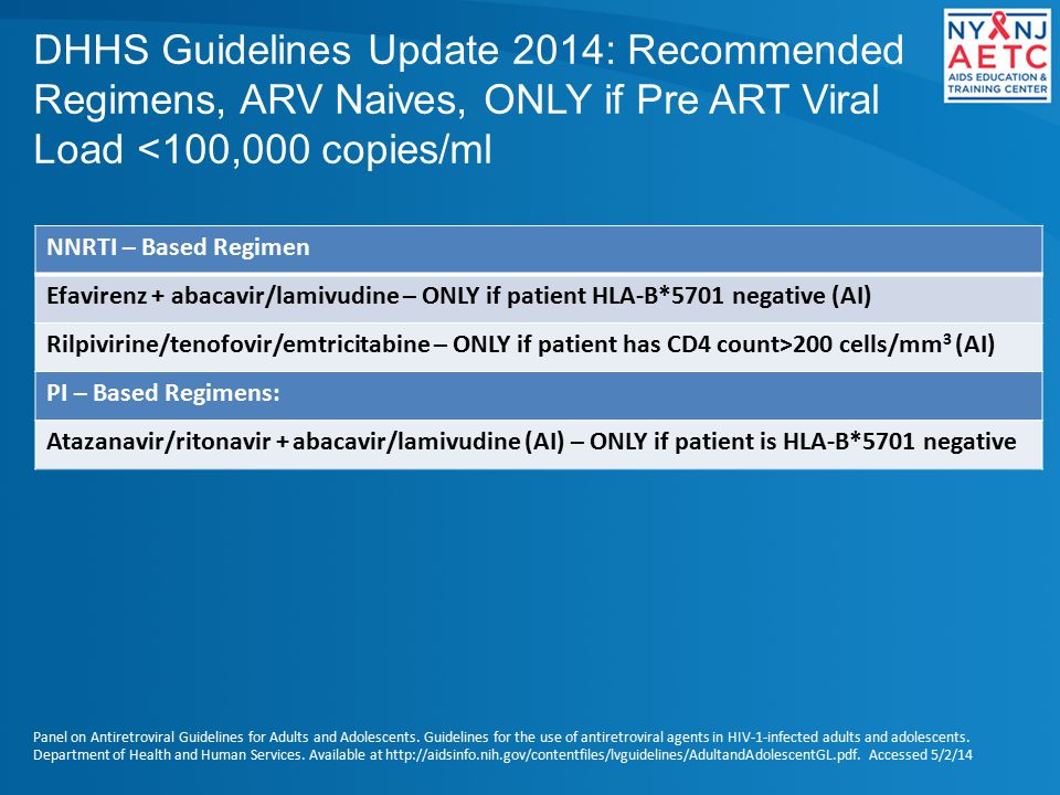DHHS Guidelines Update 2014: Recommended Regimens, ARV Naives, ONLY if Pre ART Viral Load <100,000 copies/ml NNRTI – Based Regimen Efavirenz + abacavir/lamivudine – ONLY if patient HLA-B*5701 negative (AI) Rilpivirine/tenofovir/emtricitabine – ONLY if patient has CD4 count>200 cells/mm 3 (AI) PI – Based Regimens: Atazanavir/ritonavir + abacavir/lamivudine (AI) – ONLY if patient is HLA-B*5701 negative Panel on Antiretroviral Guidelines for Adults and Adolescents.