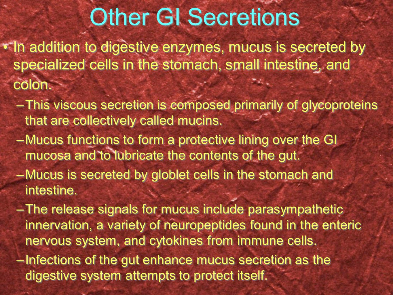 Other GI Secretions In addition to digestive enzymes, mucus is secreted by specialized cells in the stomach, small intestine, and colon. –This viscous