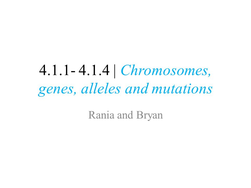 4.1.1- 4.1.4 | Chromosomes, genes, alleles and mutations Rania and Bryan