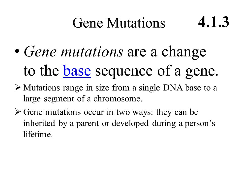 Gene Mutations 4.1.3 Gene mutations are a change to the base sequence of a gene.base  Mutations range in size from a single DNA base to a large segment of a chromosome.