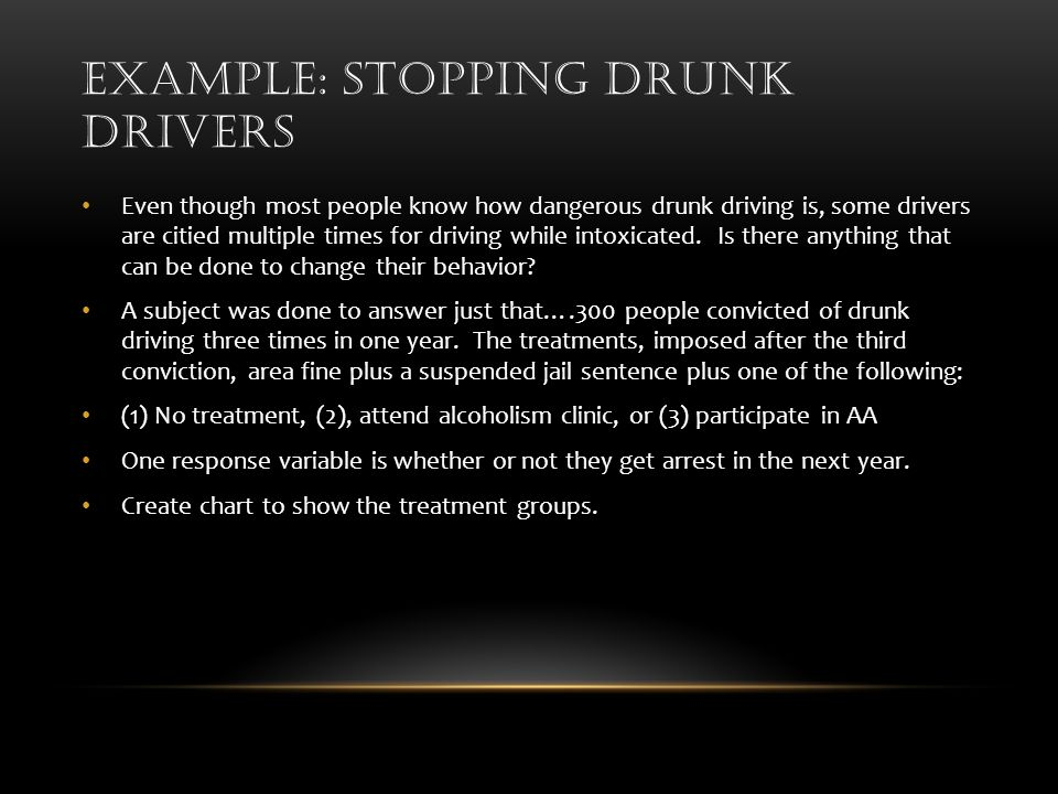 EXAMPLE: STOPPING DRUNK DRIVERS Even though most people know how dangerous drunk driving is, some drivers are citied multiple times for driving while intoxicated.