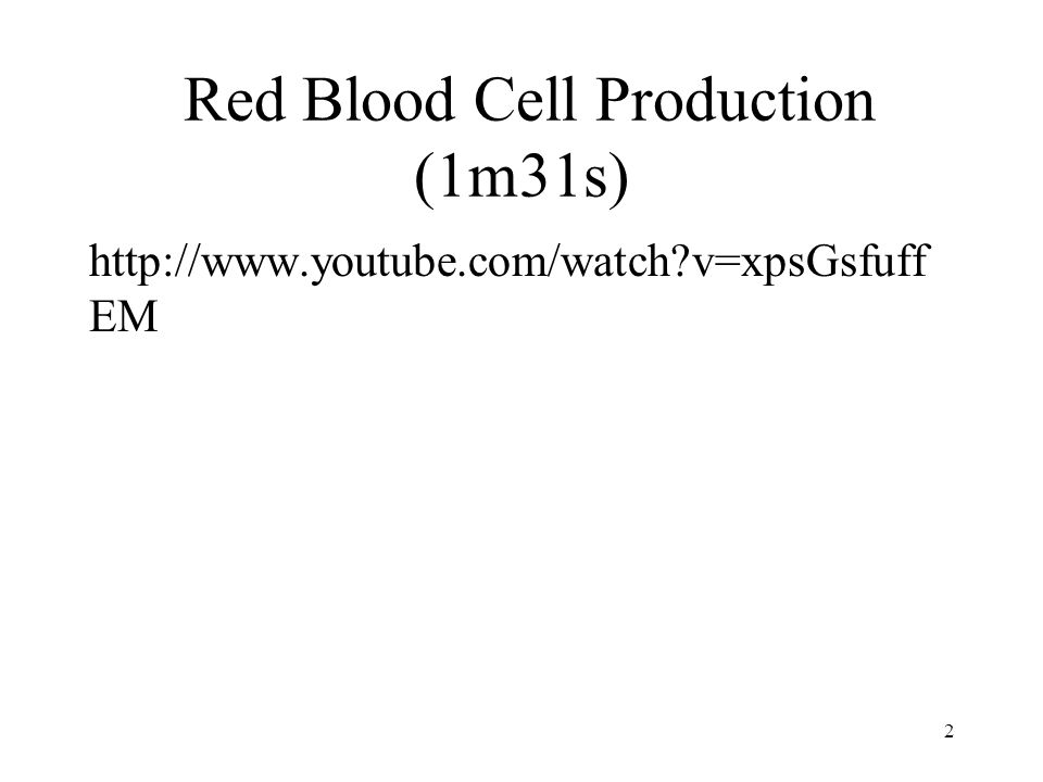 Red Blood Cell Production (1m31s) http://www.youtube.com/watch?v=xpsGsfuff EM 2