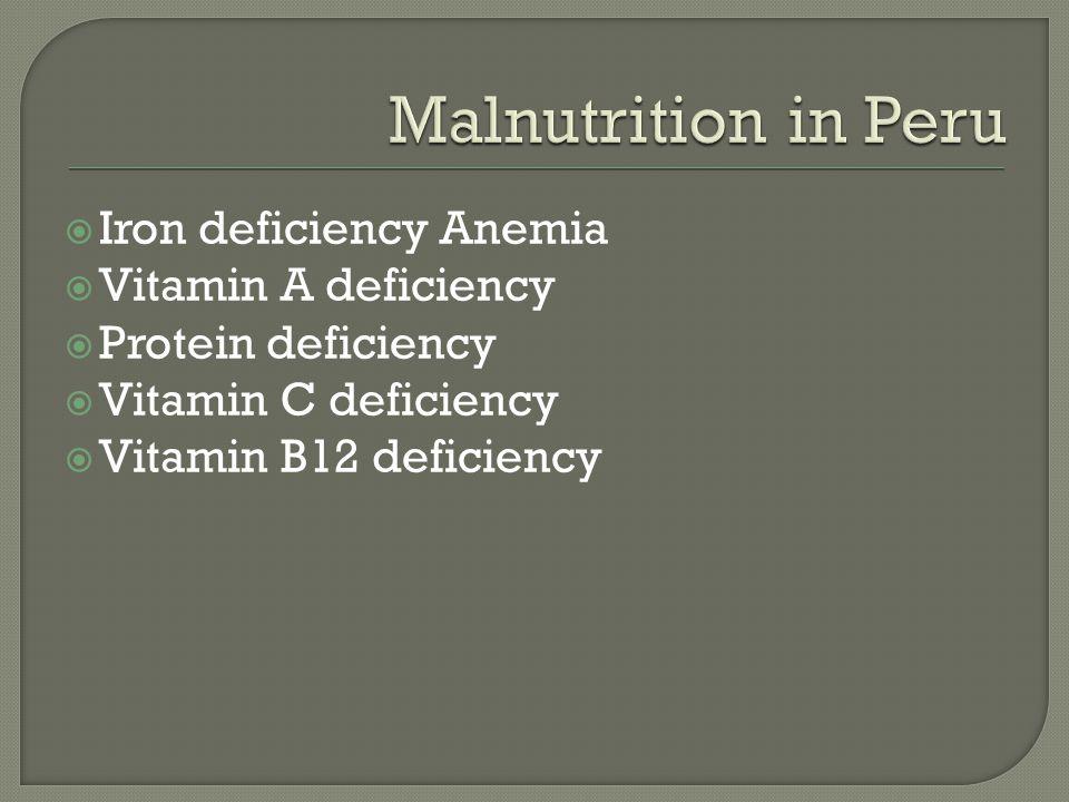  Iron deficiency Anemia  Vitamin A deficiency  Protein deficiency  Vitamin C deficiency  Vitamin B12 deficiency