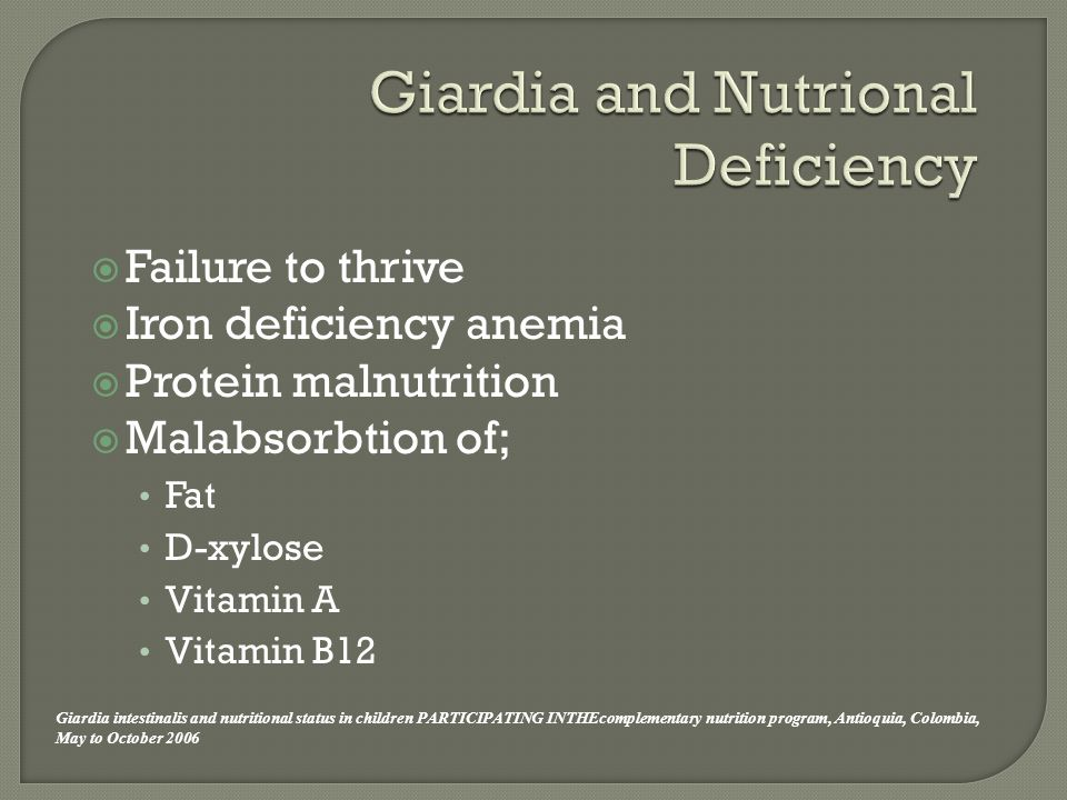  Failure to thrive  Iron deficiency anemia  Protein malnutrition  Malabsorbtion of; Fat D-xylose Vitamin A Vitamin B12 Giardia intestinalis and nutritional status in children PARTICIPATING INTHEcomplementary nutrition program, Antioquia, Colombia, May to October 2006