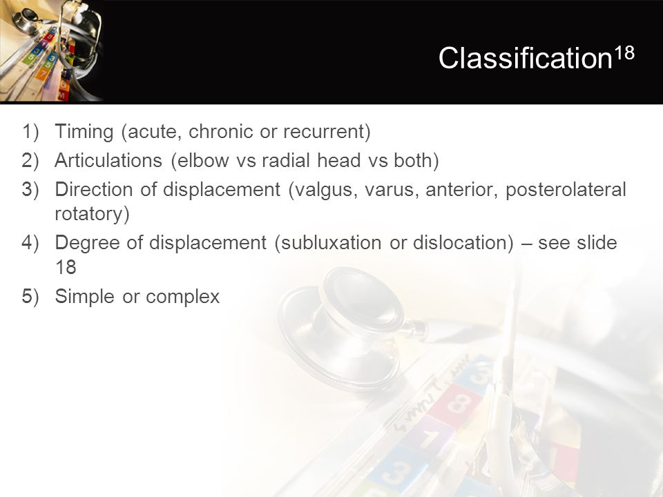 Classification 18 1)Timing (acute, chronic or recurrent) 2)Articulations (elbow vs radial head vs both) 3)Direction of displacement (valgus, varus, an