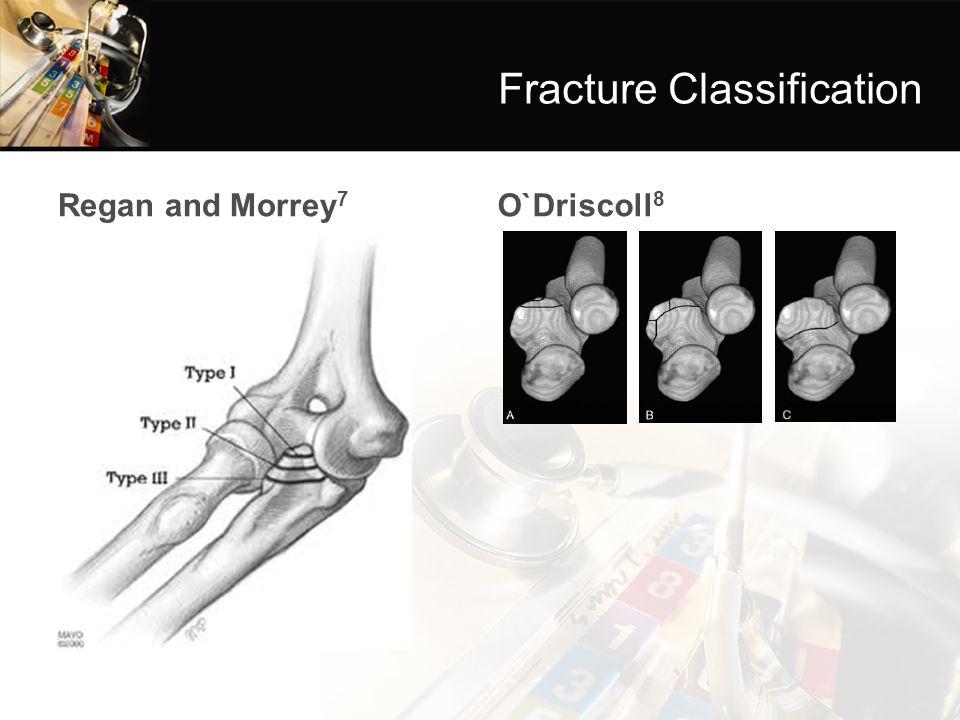 Regan and Morrey 7 O`Driscoll 8 Fracture Classification
