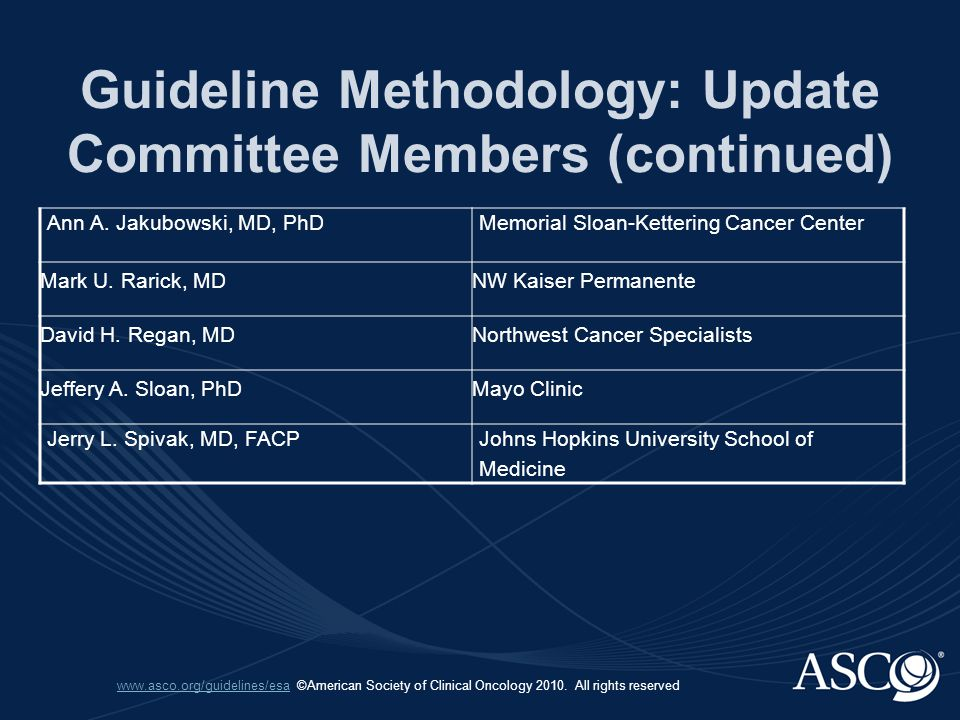 www.asco.org/guidelines/esawww.asco.org/guidelines/esa ©American Society of Clinical Oncology 2010.