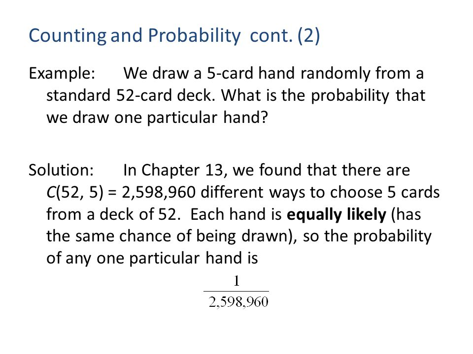Counting and Probability cont.