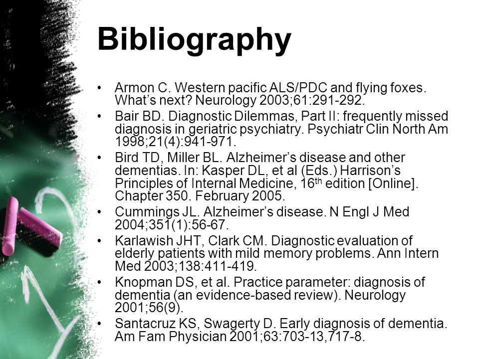 Bibliography Armon C. Western pacific ALS/PDC and flying foxes.