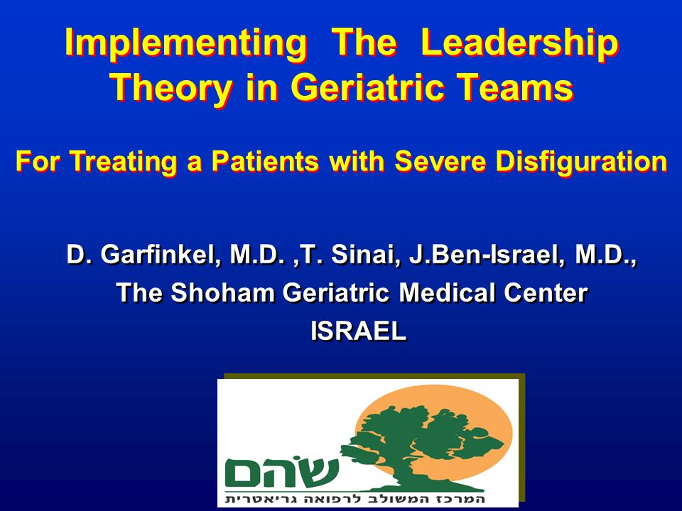 Implementing The Leadership Theory in Geriatric Teams D. Garfinkel, M.D.,T. Sinai, J.Ben-Israel, M.D., The Shoham Geriatric Medical Center ISRAEL D. G