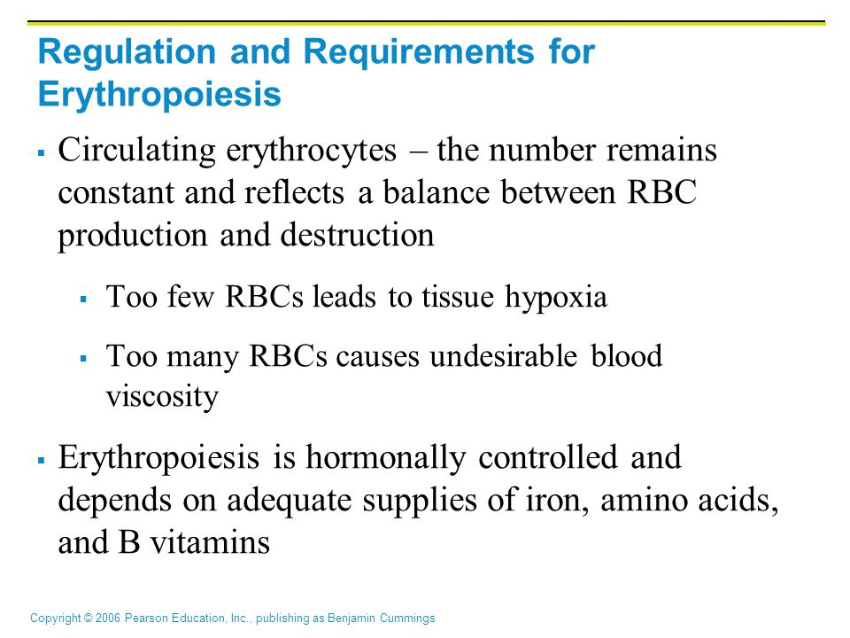 Copyright © 2006 Pearson Education, Inc., publishing as Benjamin Cummings Regulation and Requirements for Erythropoiesis  Circulating erythrocytes – the number remains constant and reflects a balance between RBC production and destruction  Too few RBCs leads to tissue hypoxia  Too many RBCs causes undesirable blood viscosity  Erythropoiesis is hormonally controlled and depends on adequate supplies of iron, amino acids, and B vitamins