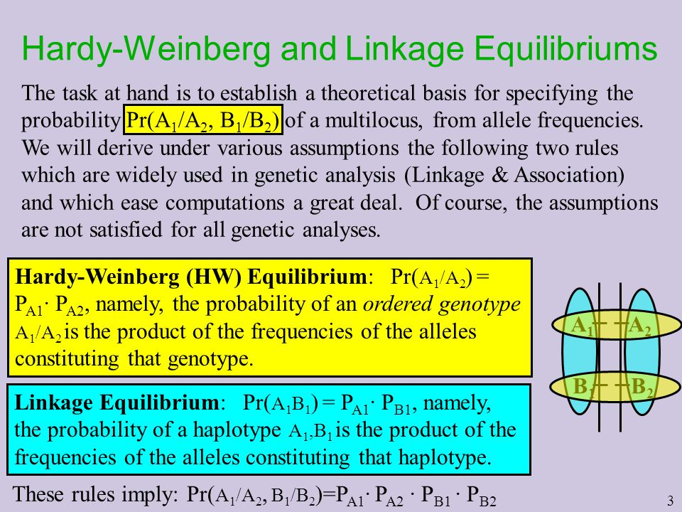 3 Hardy-Weinberg and Linkage Equilibriums The task at hand is to establish a theoretical basis for specifying the probability Pr(A 1 /A 2, B 1 /B 2 )