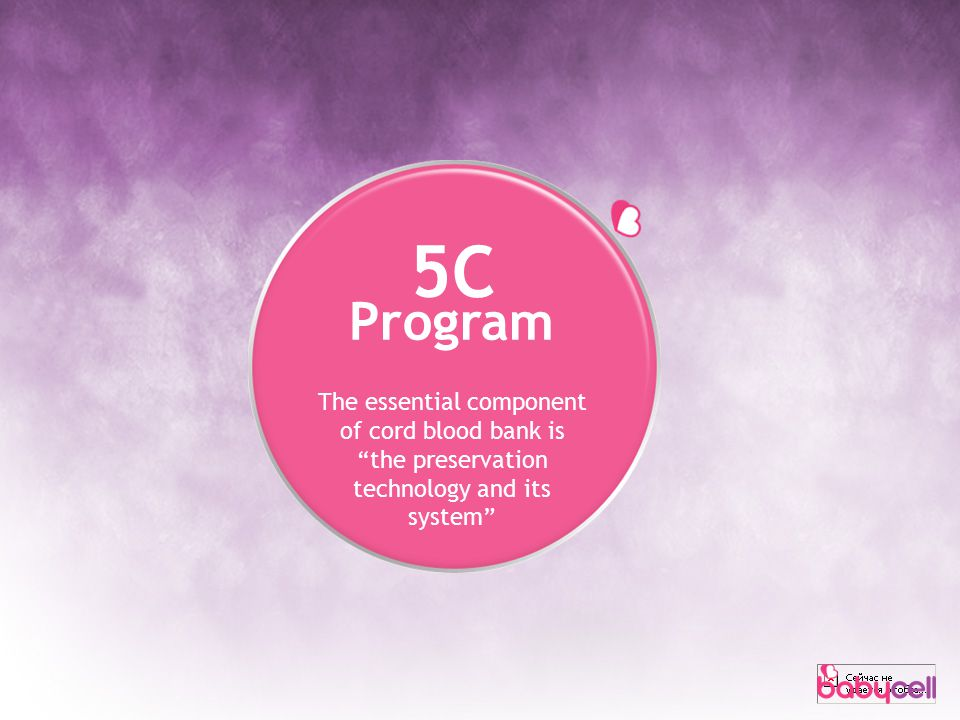 5C Program The essential component of cord blood bank is the preservation technology and its system