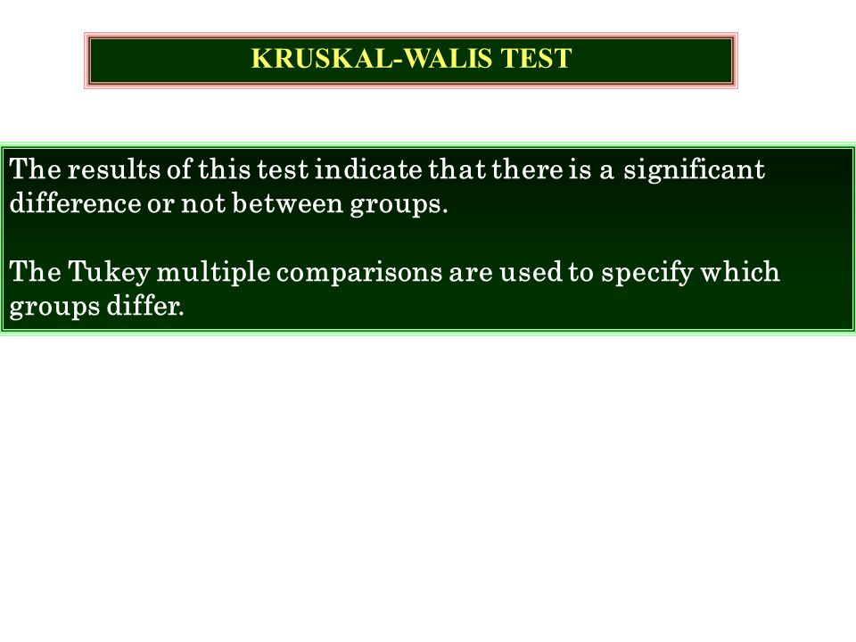 The results of this test indicate that there is a significant difference or not between groups. The Tukey multiple comparisons are used to specify whi