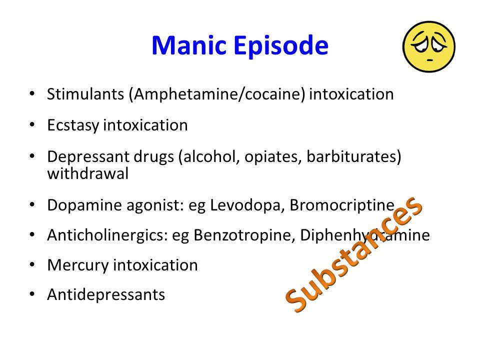 Manic Episode Stimulants (Amphetamine/cocaine) intoxication Ecstasy intoxication Depressant drugs (alcohol, opiates, barbiturates) withdrawal Dopamine agonist: eg Levodopa, Bromocriptine Anticholinergics: eg Benzotropine, Diphenhydramine Mercury intoxication Antidepressants