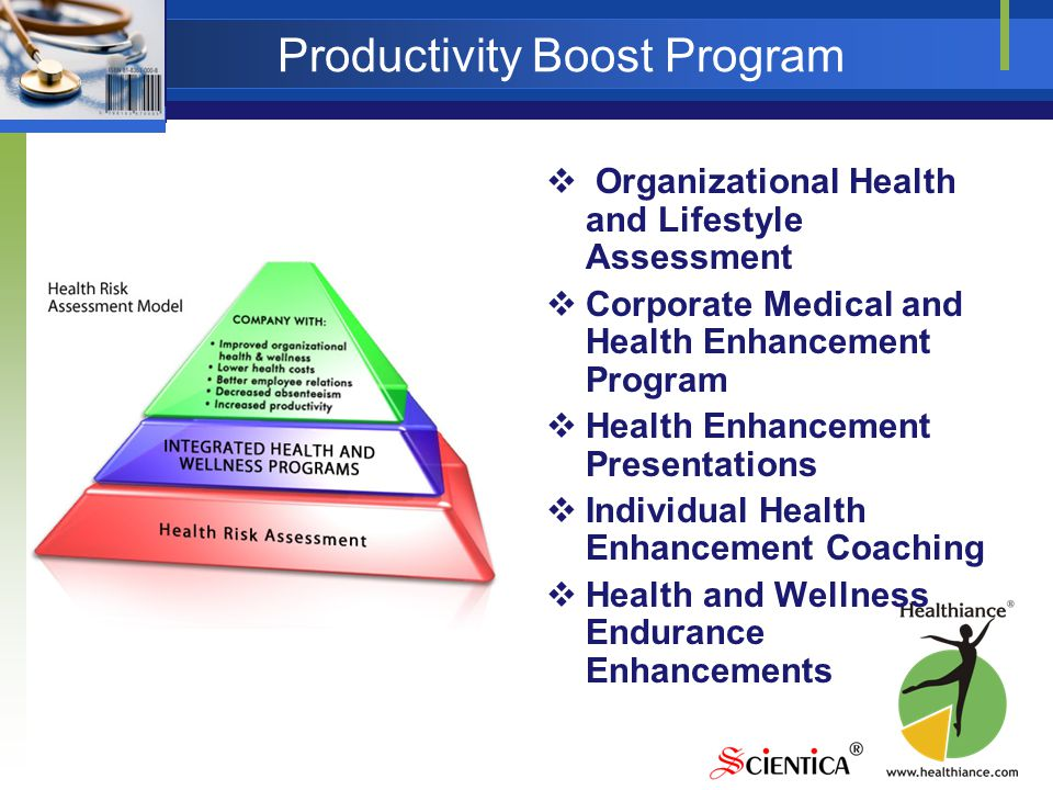 Productivity Boost Program  Organizational Health and Lifestyle Assessment  Corporate Medical and Health Enhancement Program  Health Enhancement Presentations  Individual Health Enhancement Coaching  Health and Wellness Endurance Enhancements