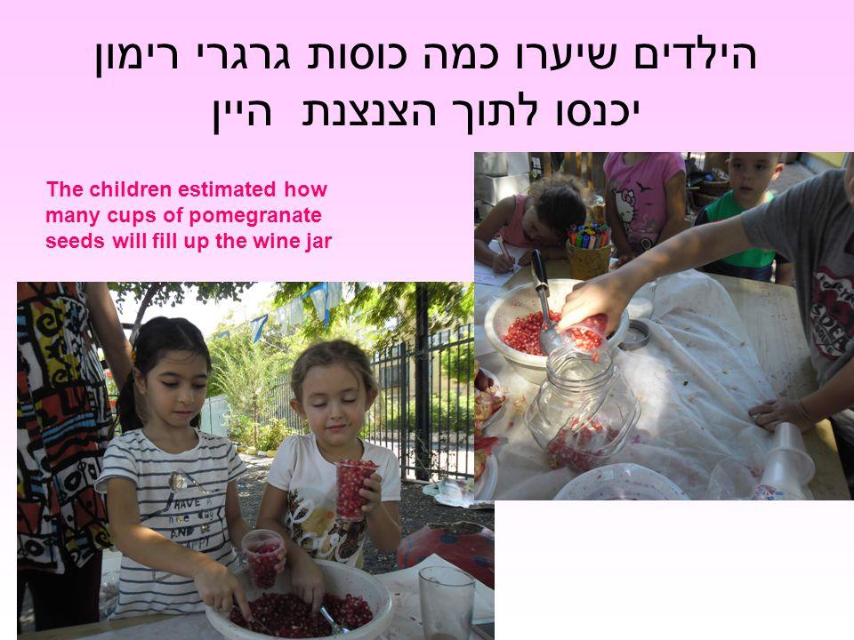 הילדים שיערו כמה כוסות גרגרי רימון יכנסו לתוך הצנצנת היין The children estimated how many cups of pomegranate seeds will fill up the wine jar