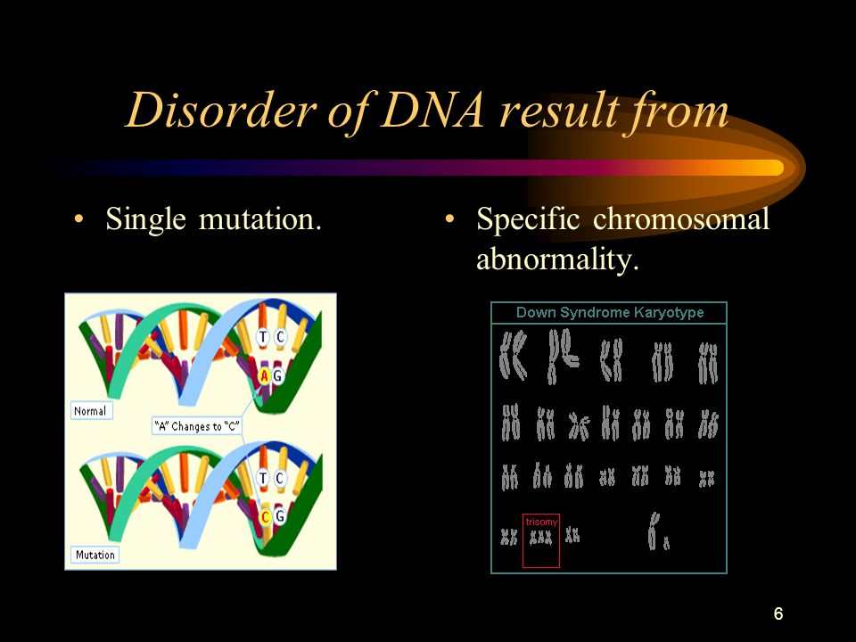 6 Disorder of DNA result from Single mutation. Specific chromosomal abnormality.