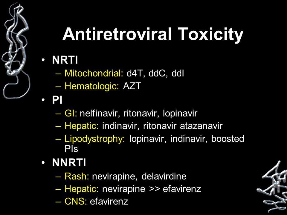 Antiretroviral Toxicity NRTI –Mitochondrial: d4T, ddC, ddI –Hematologic: AZT PI –GI: nelfinavir, ritonavir, lopinavir –Hepatic: indinavir, ritonavir atazanavir –Lipodystrophy: lopinavir, indinavir, boosted PIs NNRTI –Rash: nevirapine, delavirdine –Hepatic: nevirapine >> efavirenz –CNS: efavirenz
