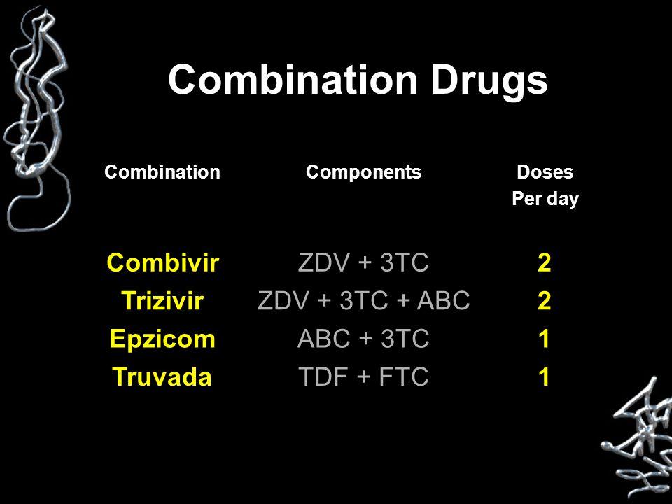 Combination Drugs CombinationComponentsDoses Per day CombivirZDV + 3TC2 TrizivirZDV + 3TC + ABC2 EpzicomABC + 3TC1 TruvadaTDF + FTC1