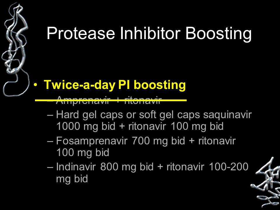 Protease Inhibitor Boosting Twice-a-day PI boosting –Amprenavir + ritonavir –Hard gel caps or soft gel caps saquinavir 1000 mg bid + ritonavir 100 mg bid –Fosamprenavir 700 mg bid + ritonavir 100 mg bid –Indinavir 800 mg bid + ritonavir 100-200 mg bid