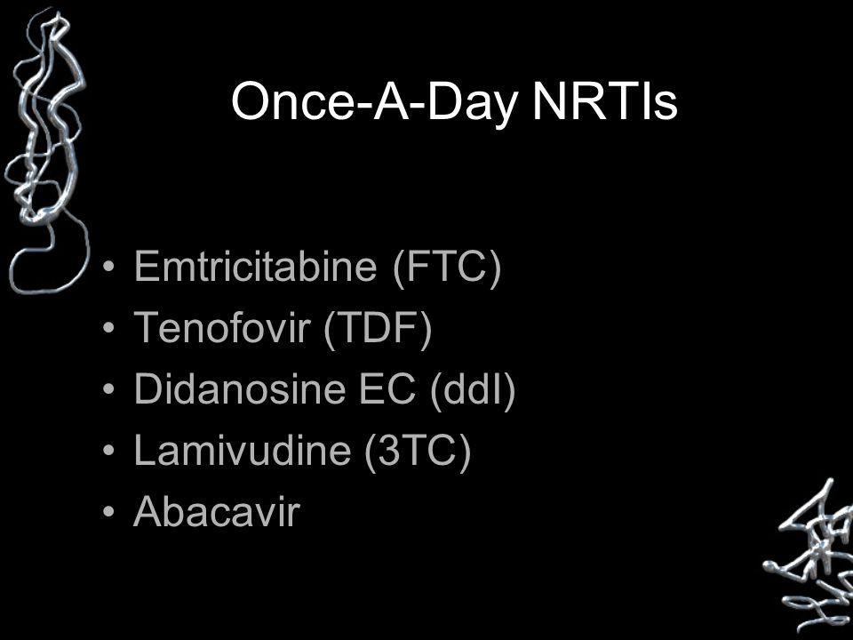 Once-A-Day NRTIs Emtricitabine (FTC) Tenofovir (TDF) Didanosine EC (ddI) Lamivudine (3TC) Abacavir