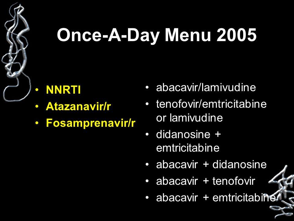Once-A-Day Menu 2005 NNRTI Atazanavir/r Fosamprenavir/r abacavir/lamivudine tenofovir/emtricitabine or lamivudine didanosine + emtricitabine abacavir + didanosine abacavir + tenofovir abacavir + emtricitabine