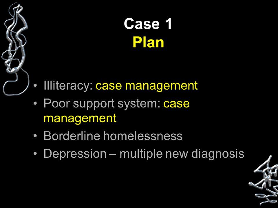 Case 1 Plan Illiteracy: case management Poor support system: case management Borderline homelessness Depression – multiple new diagnosis