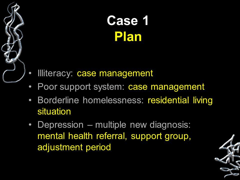 Case 1 Plan Illiteracy: case management Poor support system: case management Borderline homelessness: residential living situation Depression – multip