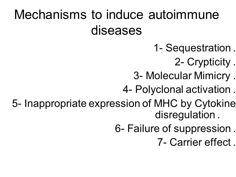 Mechanisms to induce autoimmune diseases 1- Sequestration.