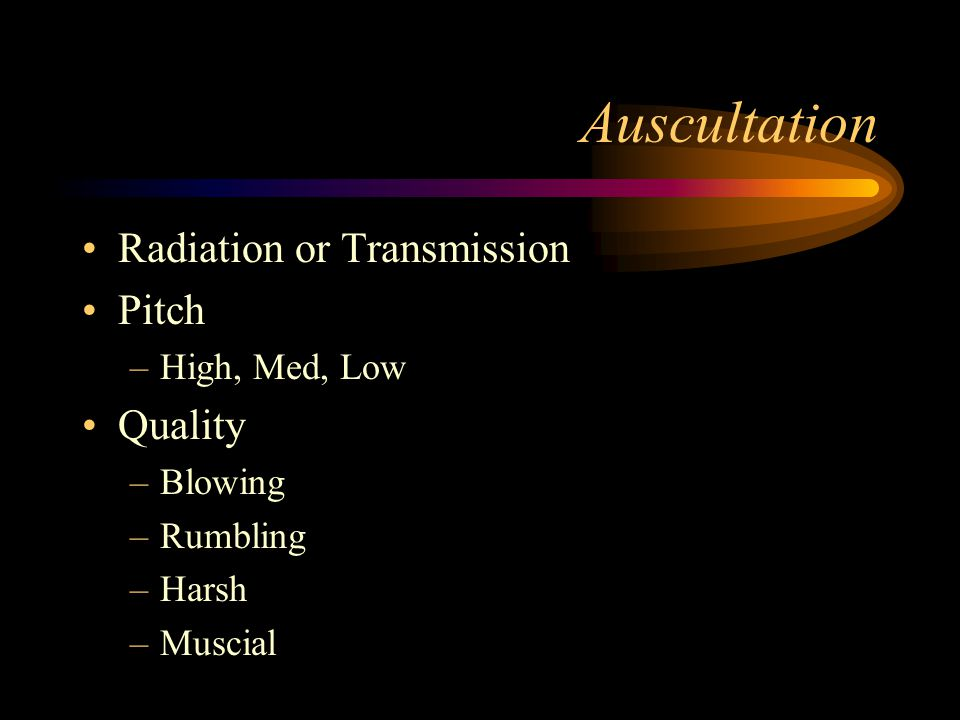 Auscultation Radiation or Transmission Pitch –High, Med, Low Quality –Blowing –Rumbling –Harsh –Muscial