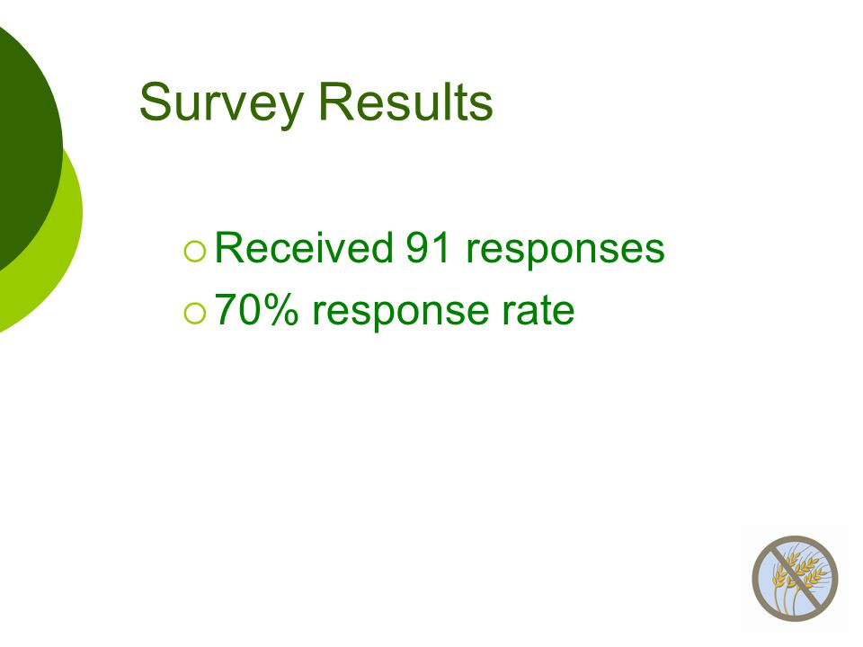 Survey Results  Received 91 responses  70% response rate