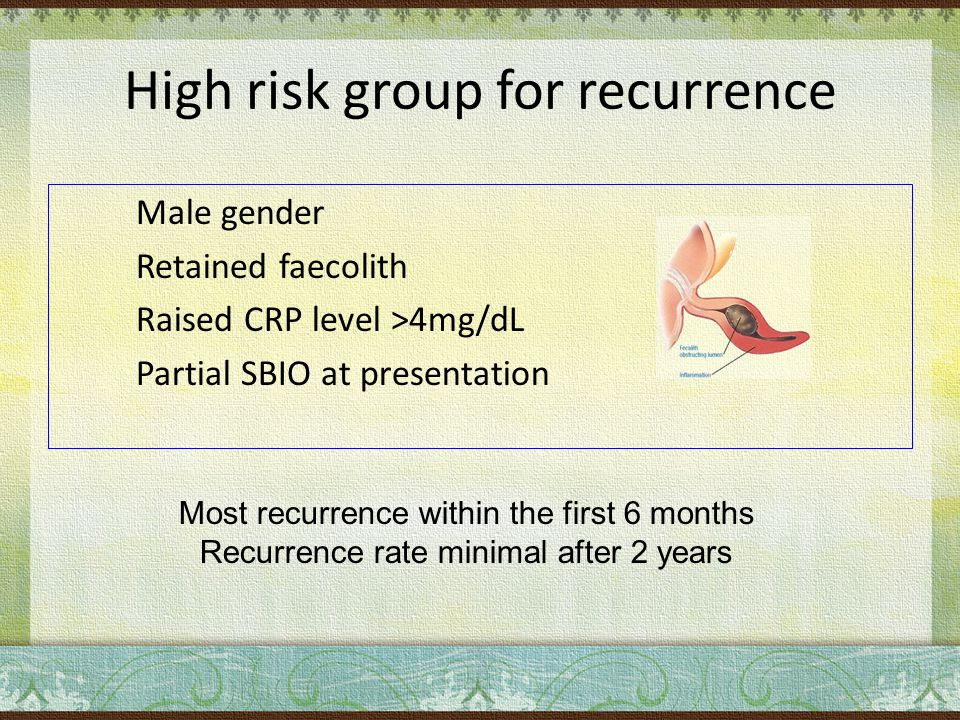 High risk group for recurrence Male gender Retained faecolith Raised CRP level >4mg/dL Partial SBIO at presentation Most recurrence within the first 6 months Recurrence rate minimal after 2 years