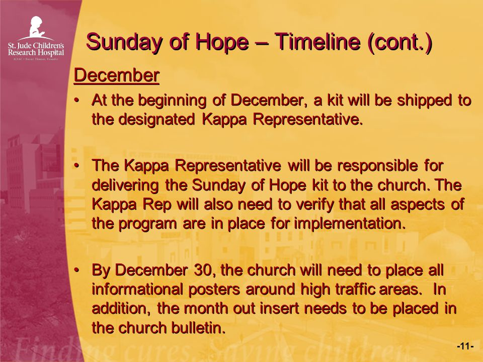-12- Sunday of Hope – Timeline (cont.) January The church will place out the fliers two weeks prior to the Sunday of Hope.