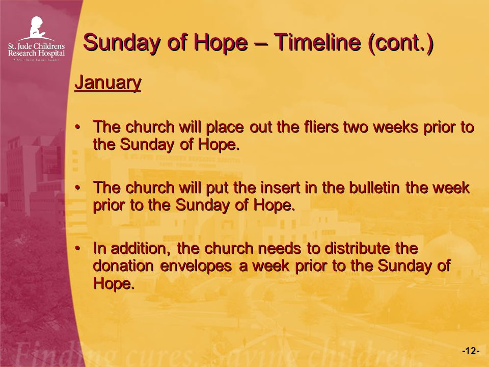 -12- Sunday of Hope – Timeline (cont.) January The church will place out the fliers two weeks prior to the Sunday of Hope. The church will put the ins
