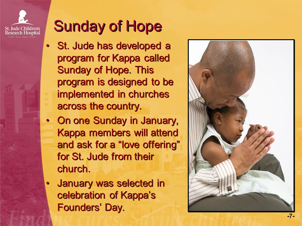 -7- Sunday of Hope St. Jude has developed a program for Kappa called Sunday of Hope. This program is designed to be implemented in churches across the