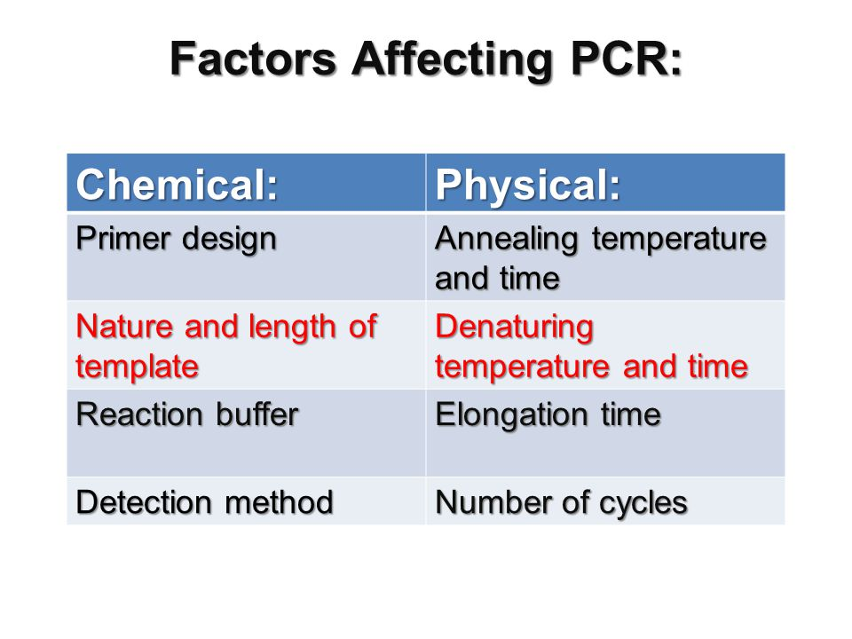 Factors Affecting PCR: Chemical:Physical: Primer design Annealing temperature and time Nature and length of template Denaturing temperature and time Reaction buffer Elongation time Detection method Number of cycles