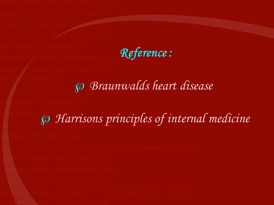 Reference :  Braunwalds heart disease  Harrisons principles of internal medicine