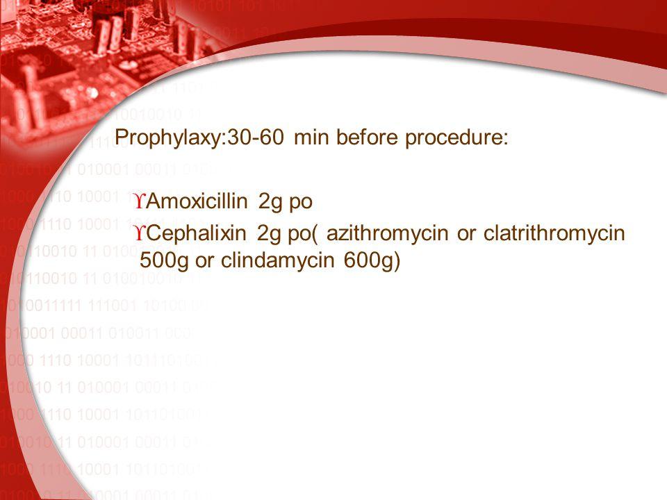 Prophylaxy:30-60 min before procedure:  Amoxicillin 2g po  Cephalixin 2g po( azithromycin or clatrithromycin 500g or clindamycin 600g)